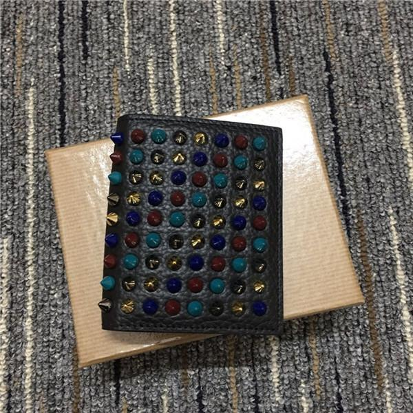 2020 summer high-quality black leather leather wallet star with the same gradient rivets short paragraph folding multicolor wallet card bag