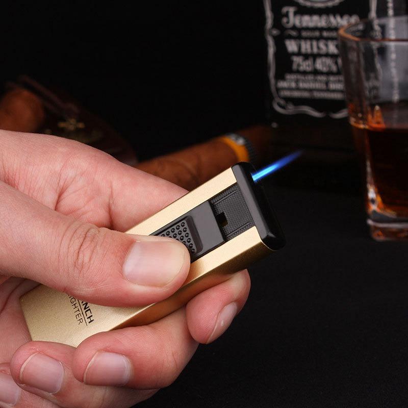 Ultra-mince métal long couple de jet de torche turbo 1300 c coupe-vent boule de butane soudage cigarettes cigarettes portables briquets hommes cadeau