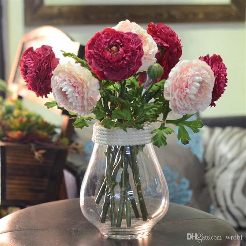 """Gefälschte Short Stem Alpine Lotus (2 Köpfe / Stück) 14,57 """"Länge Simulation Pfingstrose für Hochzeit Home dekorative künstliche Blumen"""