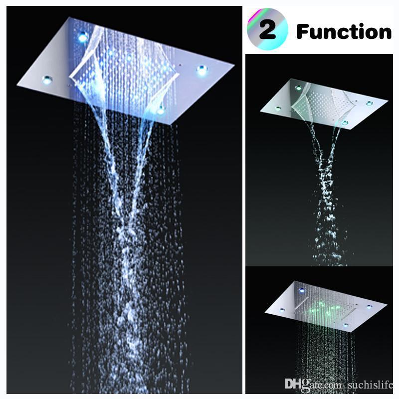 Stainless Steel Shower Head Rain Style LED Showerhead Waterfall Effect Elegantly Designed High Polish 360x500mm 20180927#