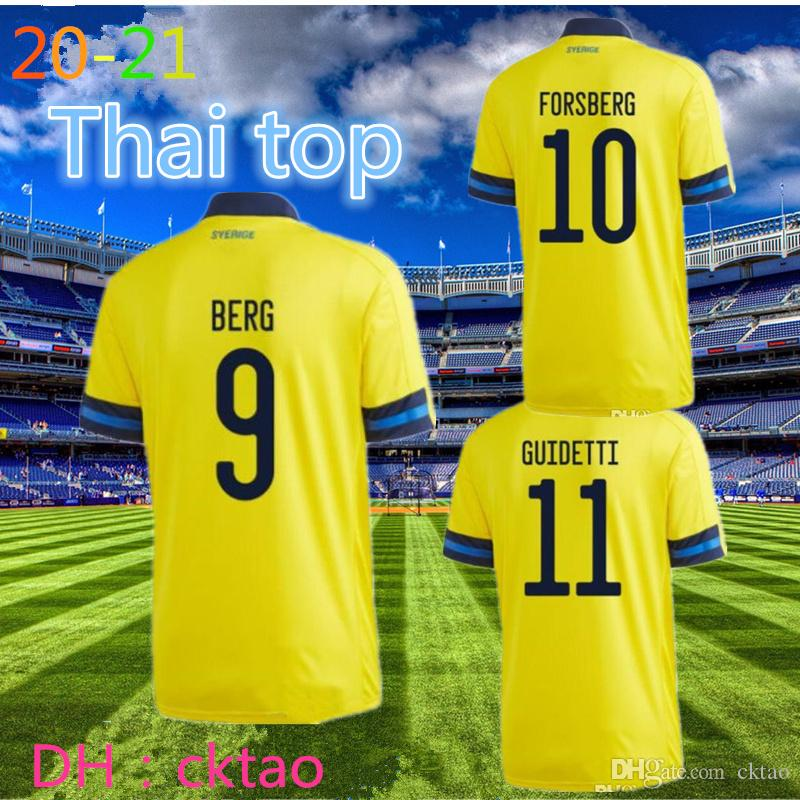 Top Thai 20 21 maillots de football Suède 2020 2021 Sverige équipe nationale FORSBERG Lindelof Guidetti maillot de chemise pied de football