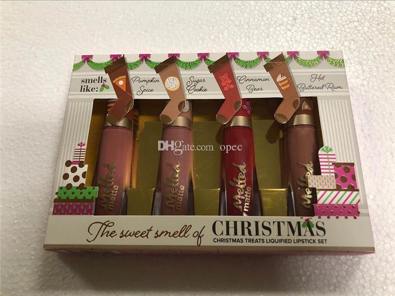 حار بيع مواجهة 4PCS رائحة الشفاه الحلوة عيد الميلاد يعامل السائل 4 ألوان الشفاه اللامع مجموعة ذاب ماتي ماكياج مستحضرات التجميل هدية