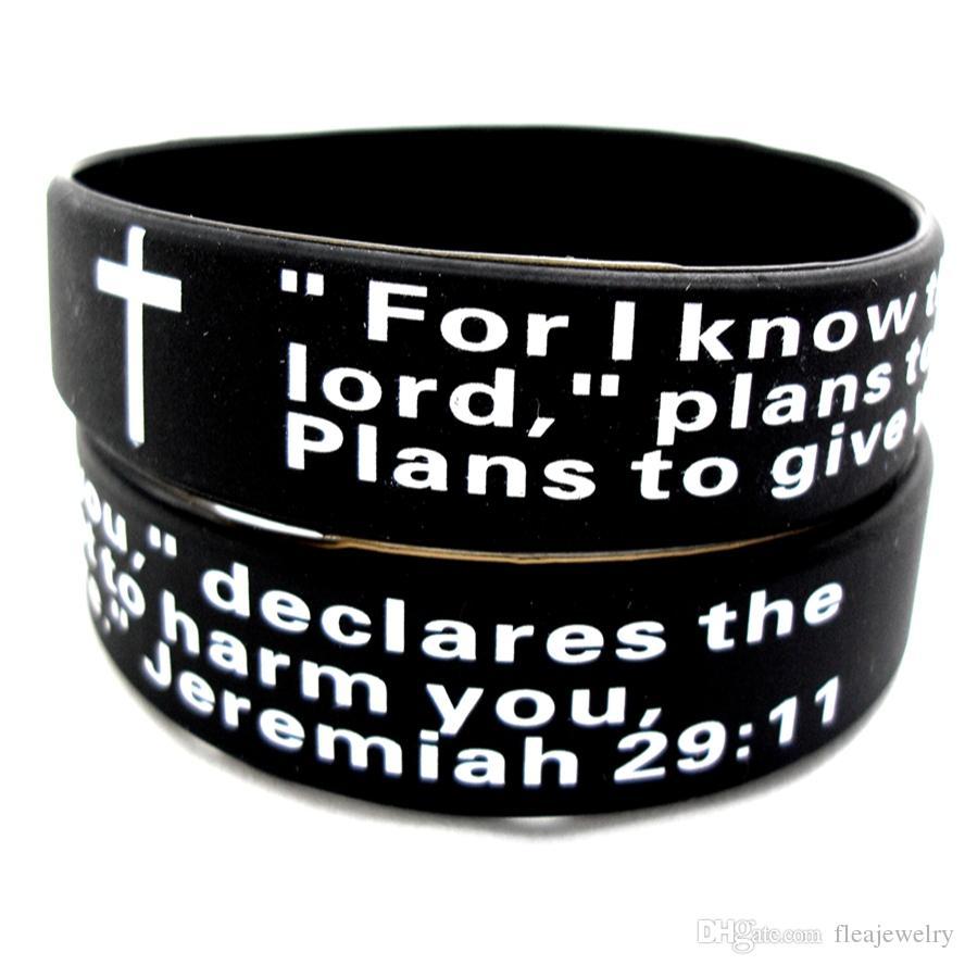 Atacado 25pcs Jeremias 2911 oração da Bíblia Cristã Preto pulseiras pulseiras Presentes Verso Banda presente