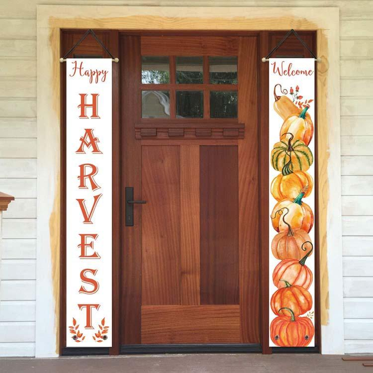 2pcs/pair Thanksgiving Banner Banners Autumn Curtain Hanging Flag Custom Decoration Couplet Door joint flag for home Decoration