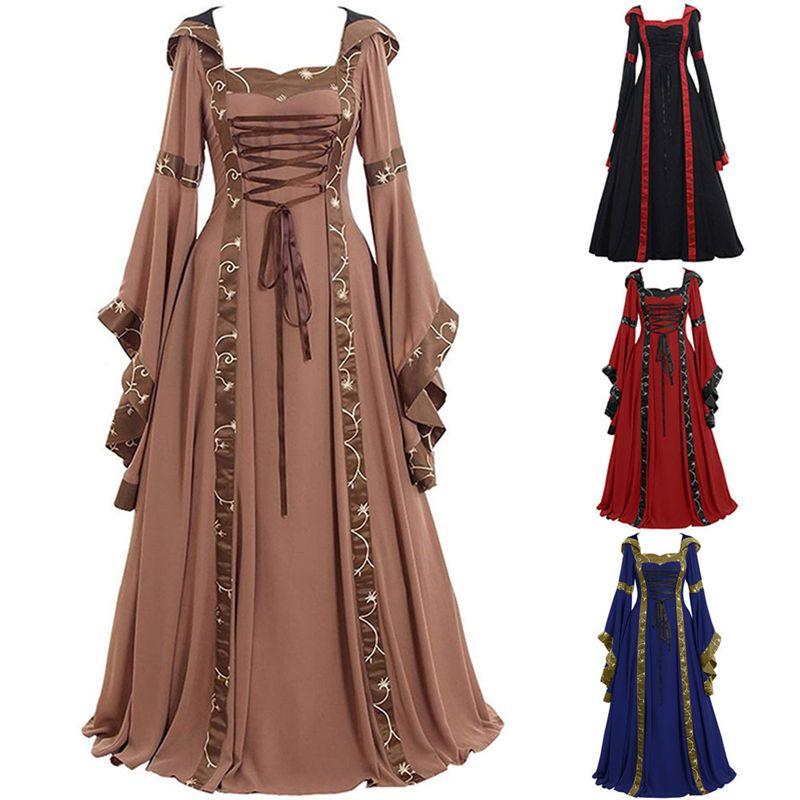 Heiße Art amerikanische und europäische mittelalterliche Retro Adjustable schnüren sich oben gestickte A-Linie mit Kapuze Kleid mit eckigem Halsausschnitt und lange Ärmel Ausgestelltes