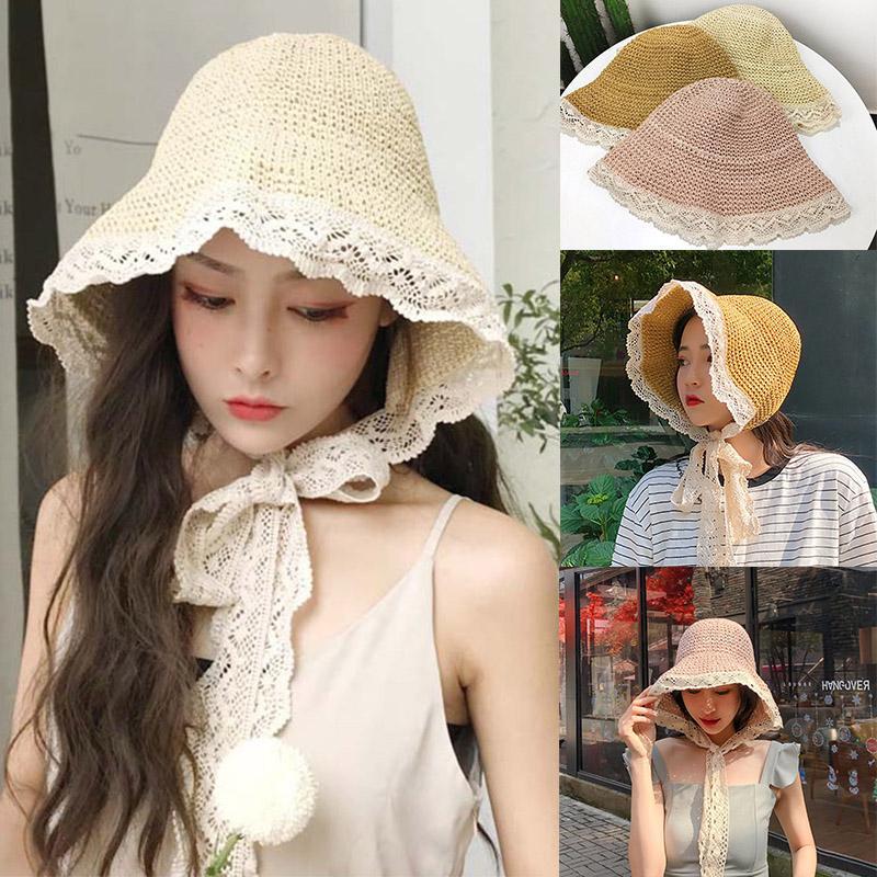 Summer Princess Princesse Hat Straw Femmes dentelle Bracelet Sun Cap Chapeau Outdoor Voyage dentelle crème solaire Sun Chapeau Empêchez Chapeaux