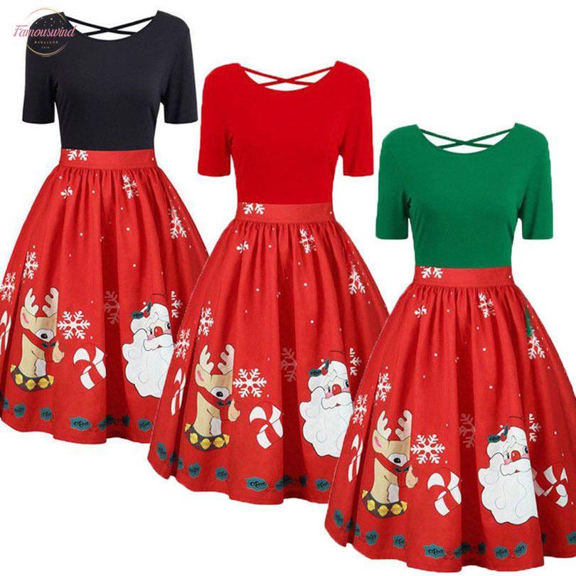 Womens Dress Moda Plus Size Natale Abito manica corta Natale Babbo Natale stampato Criss Cross partito nuovo anno 2020 Abiti 5Xl