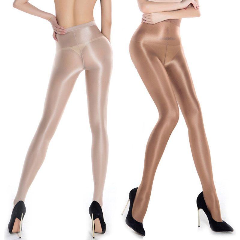 Nuevas señoras de las mujeres atractivas Sheer Oil Shiny Glossy Classic Pantyhose Medias Medias