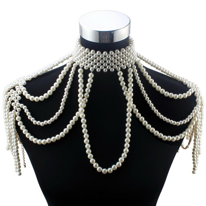 Florosy Long Bead Chain Chunky Simulated Pearl Necklace Body Jewelry for Women Costume Choker Pendant Statement Necklace New T200113