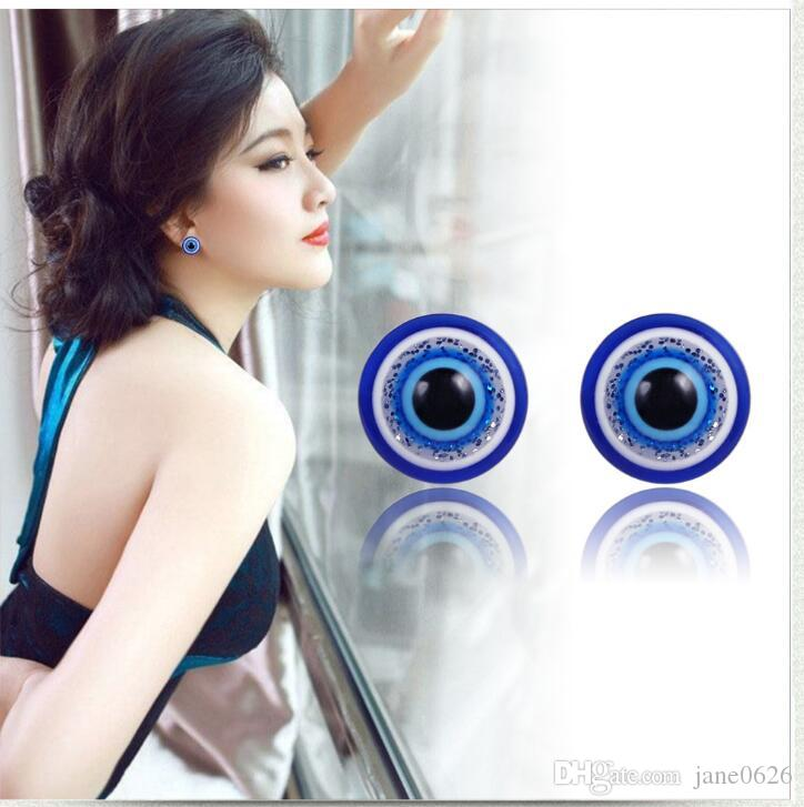 1 Pair Unisex Weight Loss Blue Eyes Shape Ear Stud Healthy Magnetic Therapy Earrings 10mm 6mm 8mm 12mm No Piercing