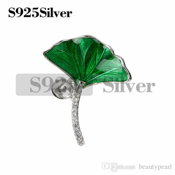 Green Ginkgo Biloba Leaf with CZ 925 Sterling Silver Pendant Blank for DIY Pearl 5 Pieces
