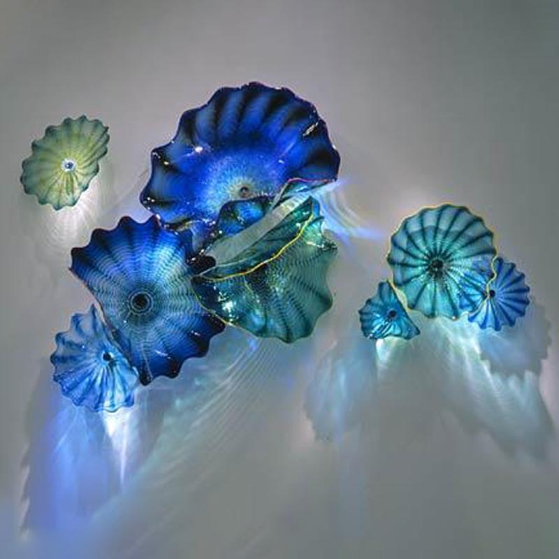 Mavi Teal Gölge 100% Murano Asılı Plaka Sanat Lambası Borosilikat El Üflemeli Cam Çiçek Duvar Sanatı Plakaları