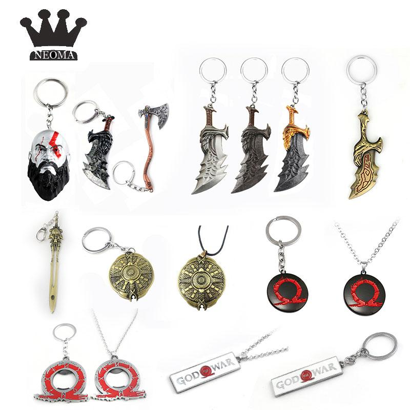20pcs / lot Atacado PS3 God Of War Cadeia Modelo Keychain Kratos Ax Faca Key Silver Key Anel Men Vintage Jóias