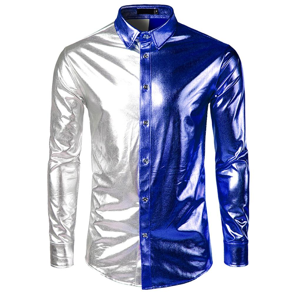 Spring Autumn Men's Shirts Long Sleeve Bright Surface Coating Slim Fit Performance show White Male Social Shirts Tops Clothing