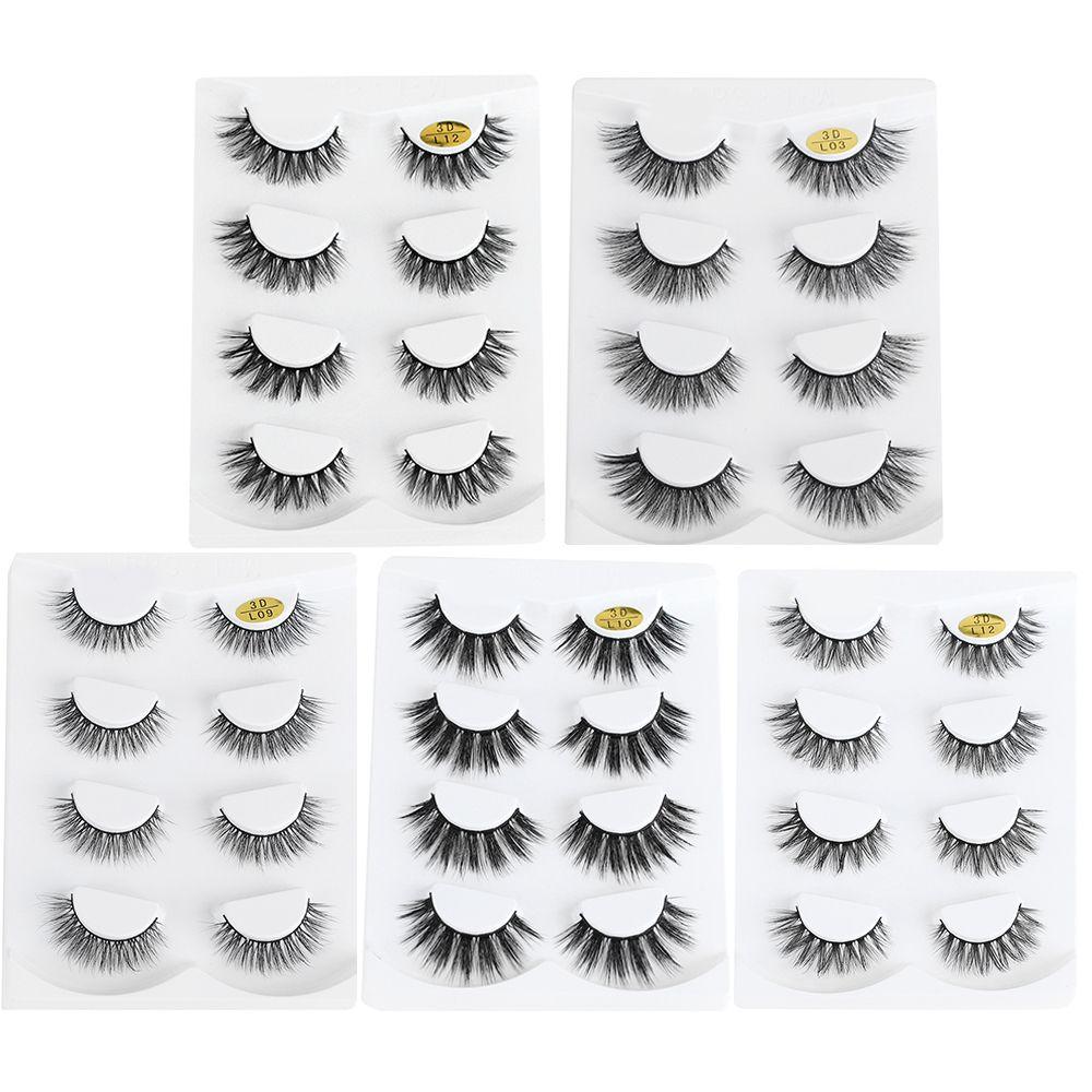 4 Pairs 3d Hair False Eyelashes Handmade Fake Lashes Thick Crisscross Eye Lashes Natural Extension Makeup Tools