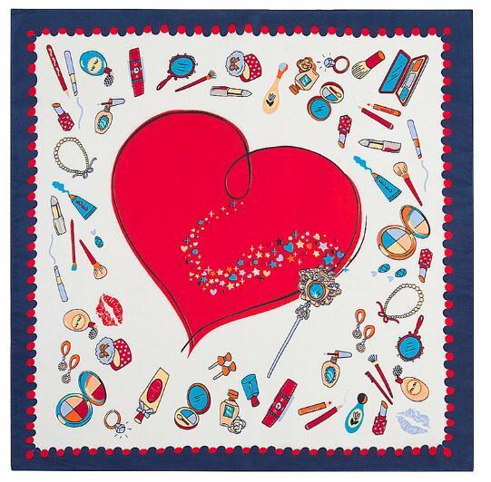 Satın Al 60 Cm 60 Cm Hızlı Kargo Yeni Kırmızı Kalpler Kare Eşarp