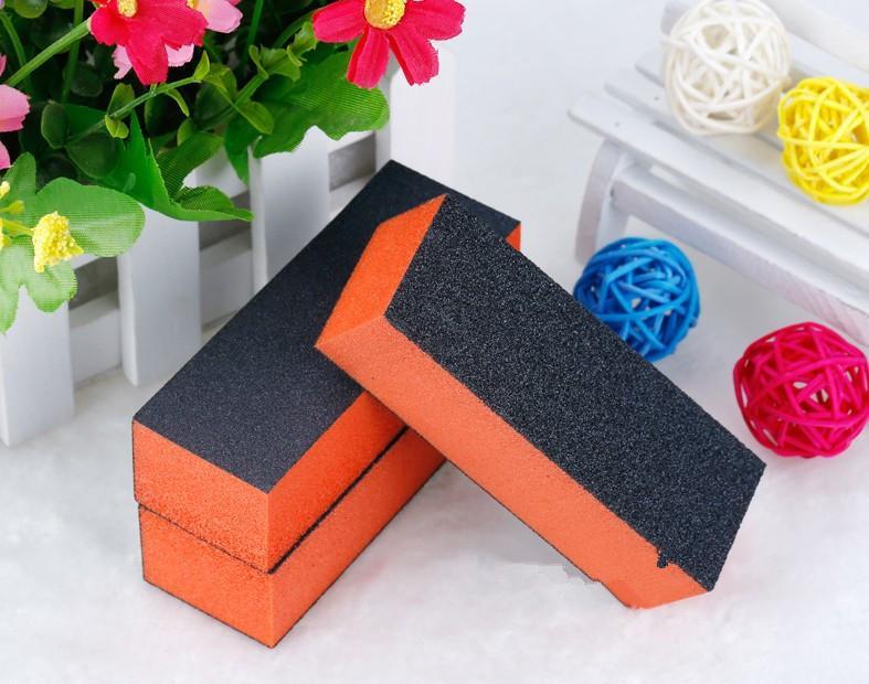 10шт / набор Черный Оранжевый цвет Nail Buffer Block 4 Way шлифовальный блок пилочки Губка пилочки полировщик