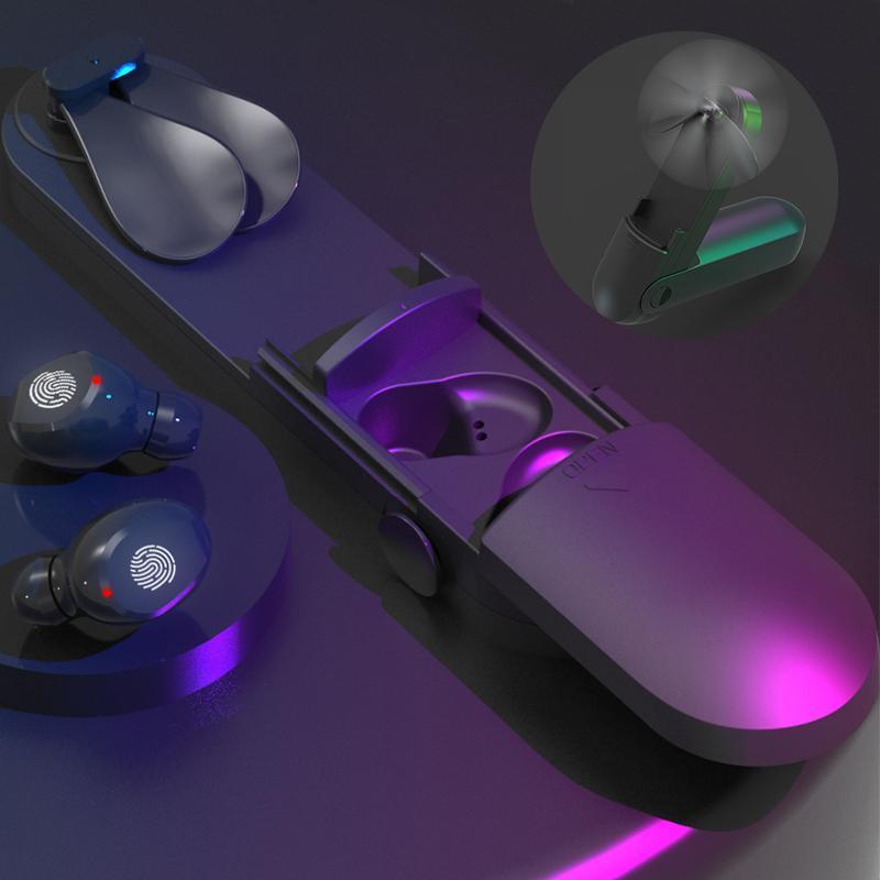 TWS F7 سماعات بلوتوث 5.0 ستيريو لاسلكي الرياضة الأعمال عرض الصوت سماعات LED الرقمية التي تعمل باللمس التحكم في سماعات الأذن مع مروحة صغيرة