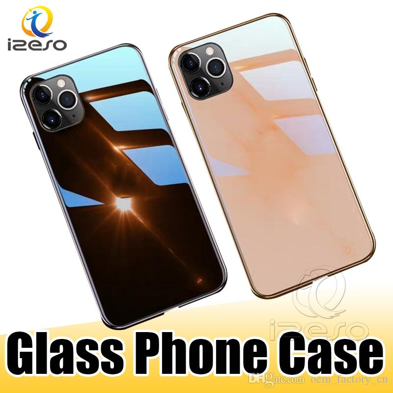 Voor iPhone 11 PRO MAX XR XS 8 7 Plus Glass Glass Telefoon Case Luxe Design Glas Mobiele Cellphone Back Case Have Logo Izeso