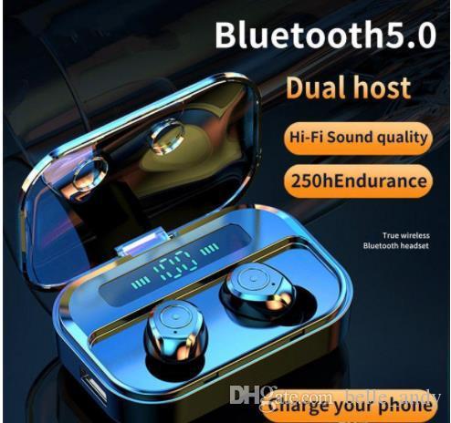 M7S TWS بلوتوث اللاسلكية V5.0 سماعات يدوي الرياضة للماء سماعات ستيريو 8D LED سماعات الأذن العرض مع بنك الطاقة شحن حالة