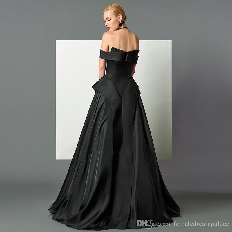 38d4dd5e757b5 2018 Elegant Black Satin A Line Evening Dresses Custom Floor Length  Backless Prom Gowns Off Shoulder Women Formal Dress Pink Evening Dresses  Sexy ...