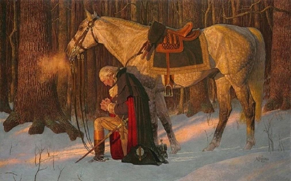 Джордж Вашингтон молится пересекая Делавэр высокое качество ручная роспись / HD печать рисунок портрет искусство масляная живопись на холсте мульти размеры