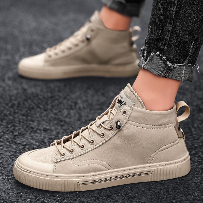 Streetwear Zapatos Hombres top del alto de las zapatillas de deporte Zapatillas Hombre Solid nuevos zapatos de cuero para hombre casual con cordones