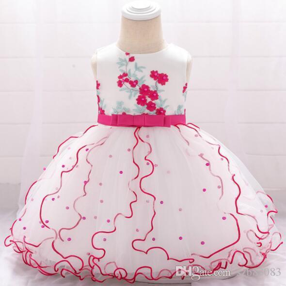 2019 New Tulle Baby Wedding Party Dresses Splendida principessa Dress Appliques Baby Girl battesimo compleanno vestito per il battesimo