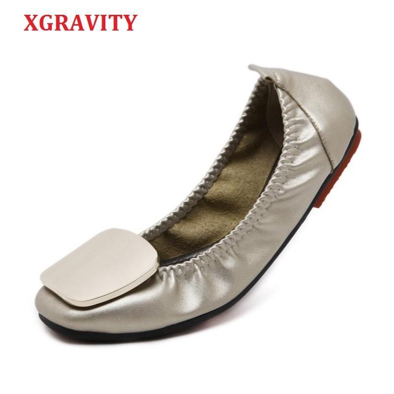 XGRAVITY 2019 뜨거운 플러스 사이즈 우아한 여성 접이식 플랫 신발 패션 OL 숙 녀 플랫 라운드 발가락 여자의 신발 여자 A074