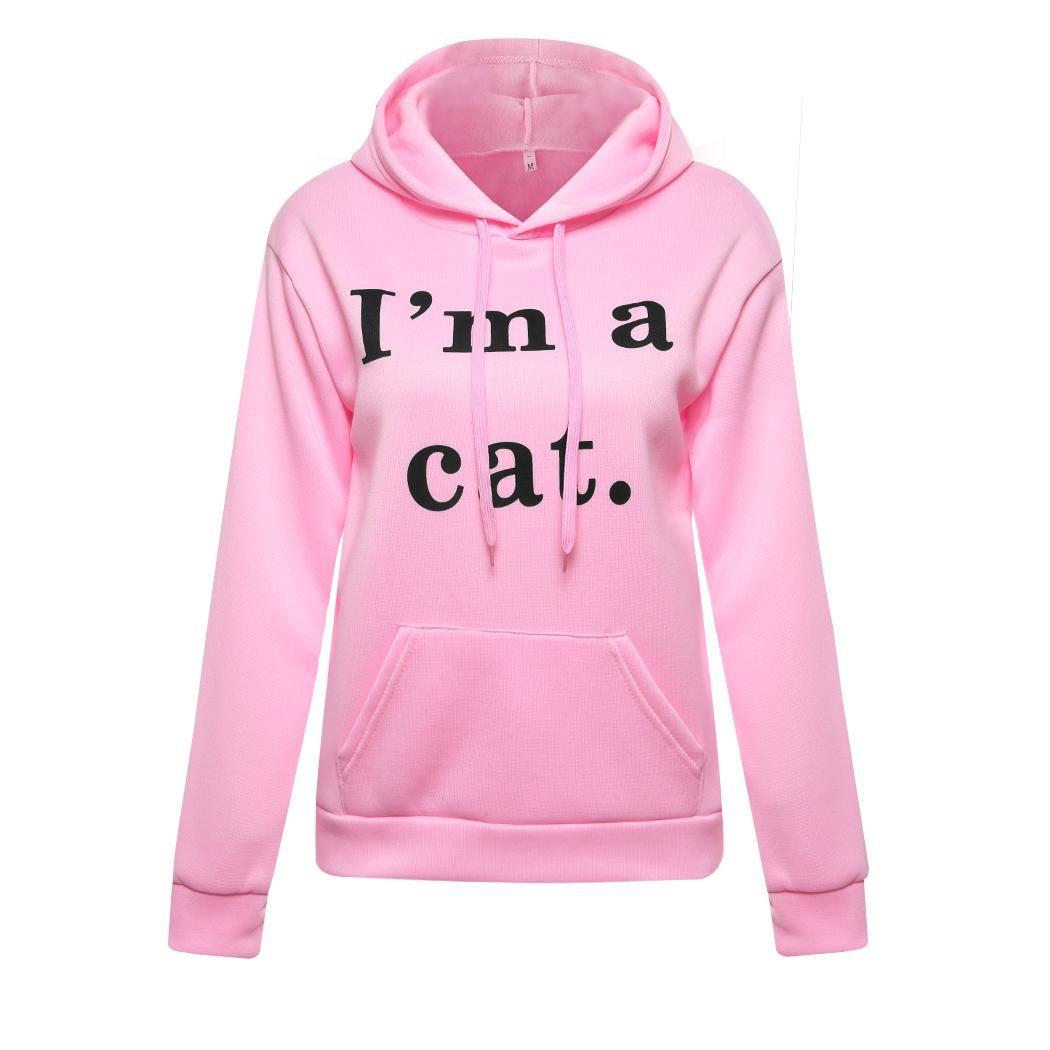 Womens Letter Print I AM A Cat Ear Pullover Hoodies Long Sleeve Sweatshirt Best