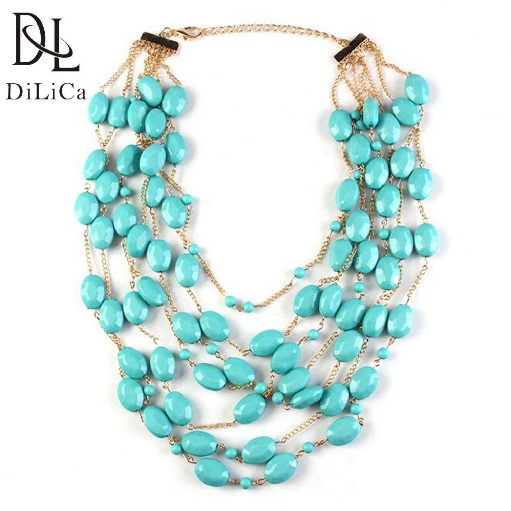 vente en gros femmes élégantes couches collier tour de cou perles chaîne gland déclaration collier bijoux accessoires