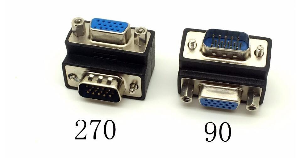 D-Sub 15pin VGA Male to Female Convertor Monitor DB15 VGA RGB HDB Extender 90 degree Connector 270 Degree free shipping hot sell 2019 new