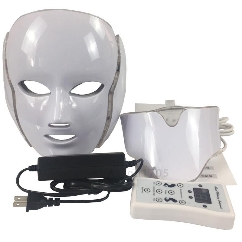 7 컬러 광자 LED 얼굴 목 아름다움 마스크 Microcurrent 마사지 피부 회춘 노화 방지 피부 관리 아름다움 장치