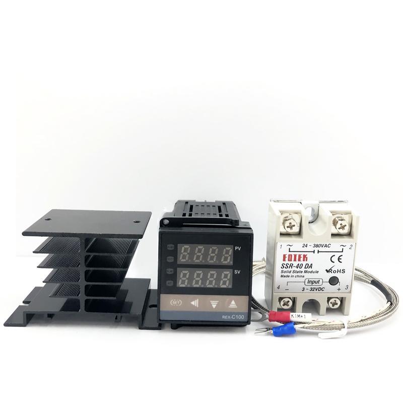 REX-C100 Digital Thermostat PID Controlador de Temperatura SSR saída + Max.40A SSR Relé + K Termopar Probe dissipador de calor 0-1300C