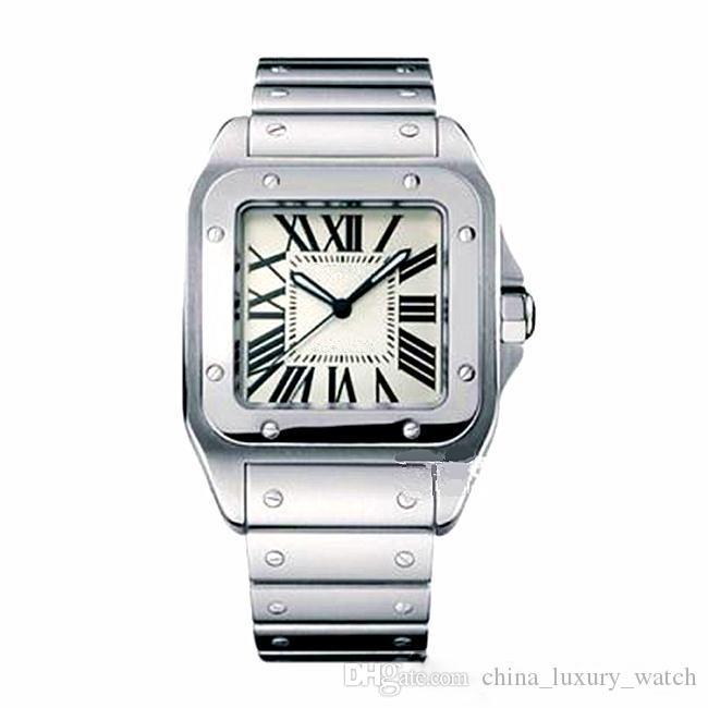 2.020 Hot venditore Men Square orologi di Ginevra in acciaio inox genuina quarzo Moda Uomo Orologi da polso maschile