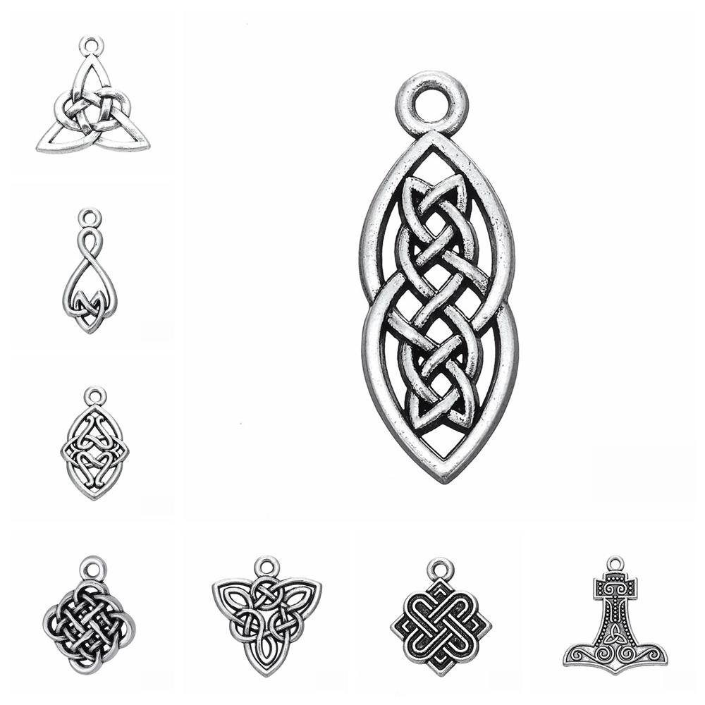 10pcs/lot Nordic Viking Religion Amulet Triquetra Symbol Charms Pendant DIY Metal Jewelry Making Antique Silver Color
