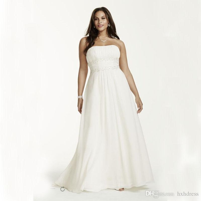 2020 New Plus Size Chiffon Empire Waist Gowns With Appliques Beading Detail Wedding Dresses Beading Sash Bridal Dress 421