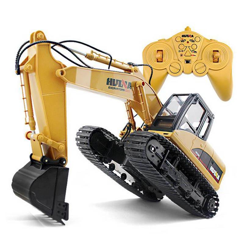 Huina Toys 15 Channel 2.4G 1/14 RC حفارة شحن سيارة RC مع بطارية RC سبائك حفارة RTR للأطفال Y200413