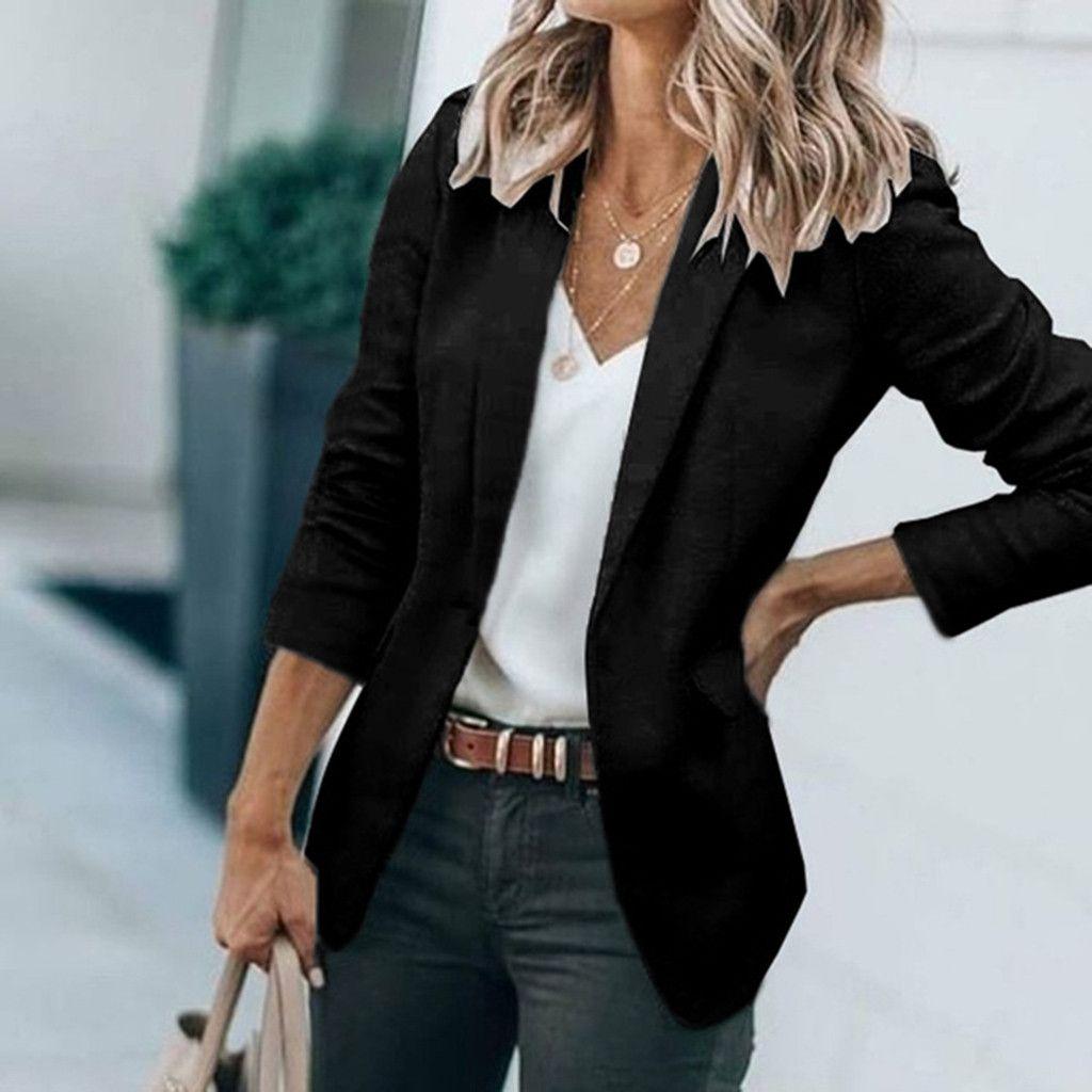Women Striped Business Blazer Suit Casual Long Sleeve Lapel Jacket Jackets Coats