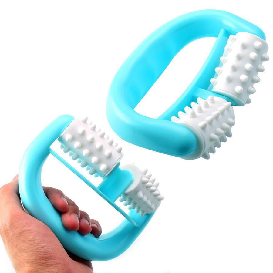 Plástica doble rodillo masajeador celulitis Piernas Pata del abdomen cuello de glúteos rápido antifatiga Masaje relajante de plástico 1pc RRA947