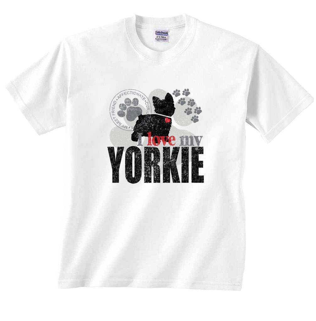 Eu Amo Minha Yorkie Pata De Cão Yorkshire Terrier T Shrt Dos Desenhos Animados T Shirt Homens Unisex Nova Moda Tshirt Frete Grátis Engraçado Tops