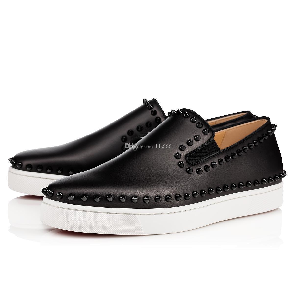 Schwarz Weiß Suede Oxfords Schuhe Herren Loafer Red Bottom Spiked Sneakers Schwarz Crosta Galaxy Leder beiläufige flache Schuh-Spikes, Luxusmode