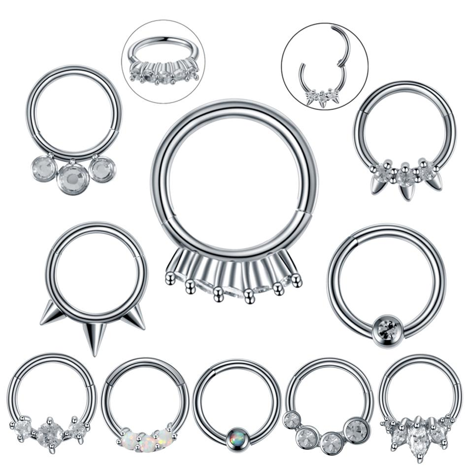 2020 Steel Hinged Nose Hoop Septum Clicker Ring Daith Helix
