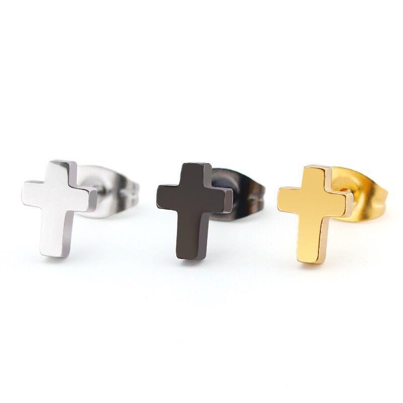 Wholesale (TE-0095) Fashion Titanium Steel Small Cross Stud Earrings For Men Women Punk Jewelry