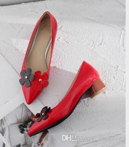 2019 Женской обувь весной и осенью с новым стилем Среднего каблуком Грубых пяток заостренного концом @ 2168