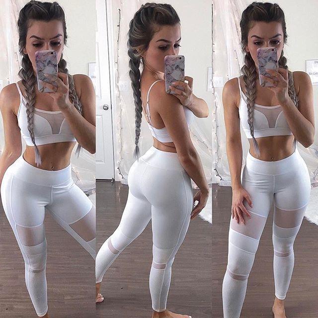 Las nuevas llegadas red blanca de hilo empalmado transparente casuales de talle alto flaco lápiz de los pantalones polainas de las mujeres