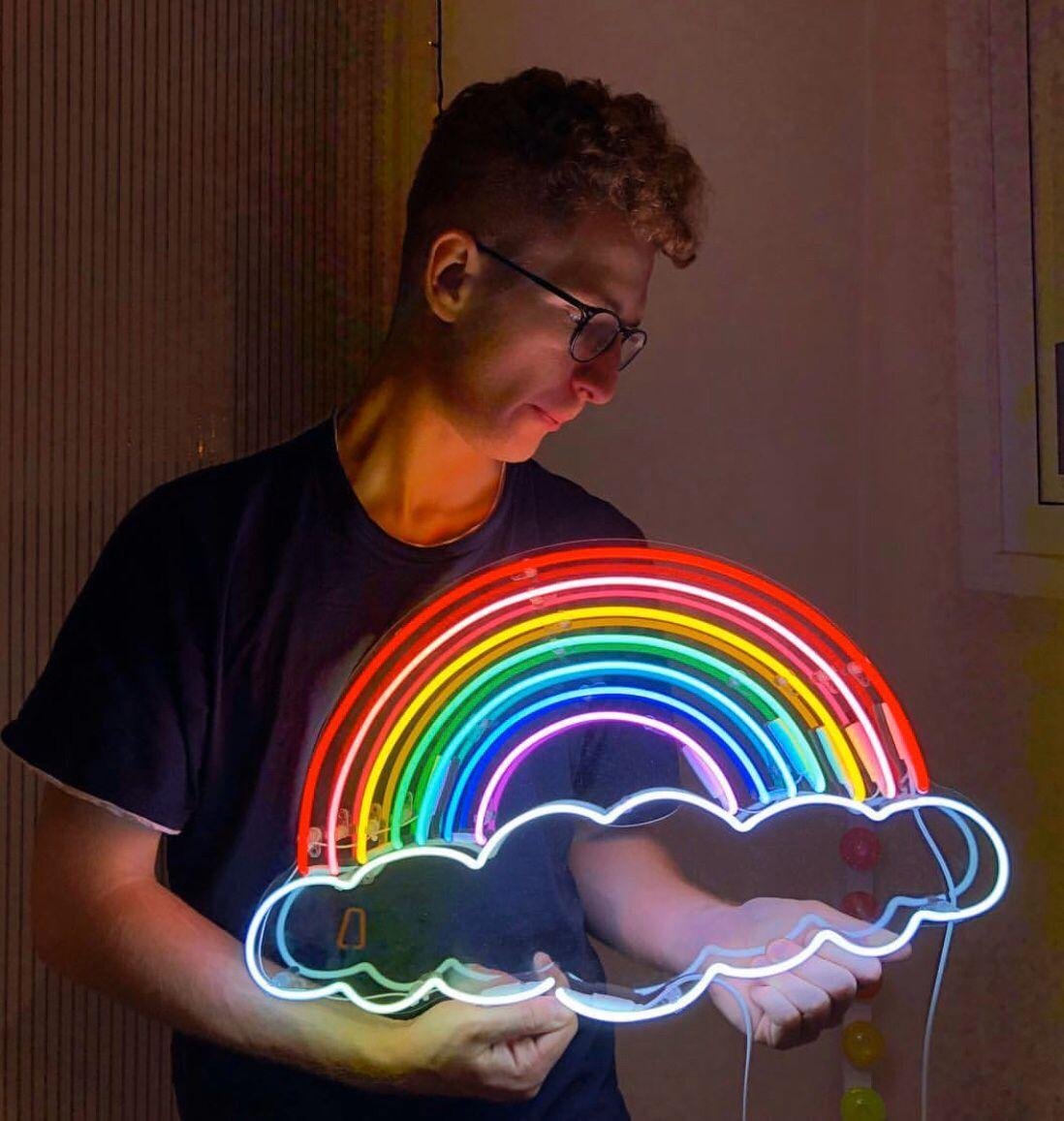 RAINBOW NEON SIGN HANDICRAFT ضوء البيرة BAR PUB توقع ريال GLASS TUBE LOGO إعلانات DISPLAY NEON 17/19/24