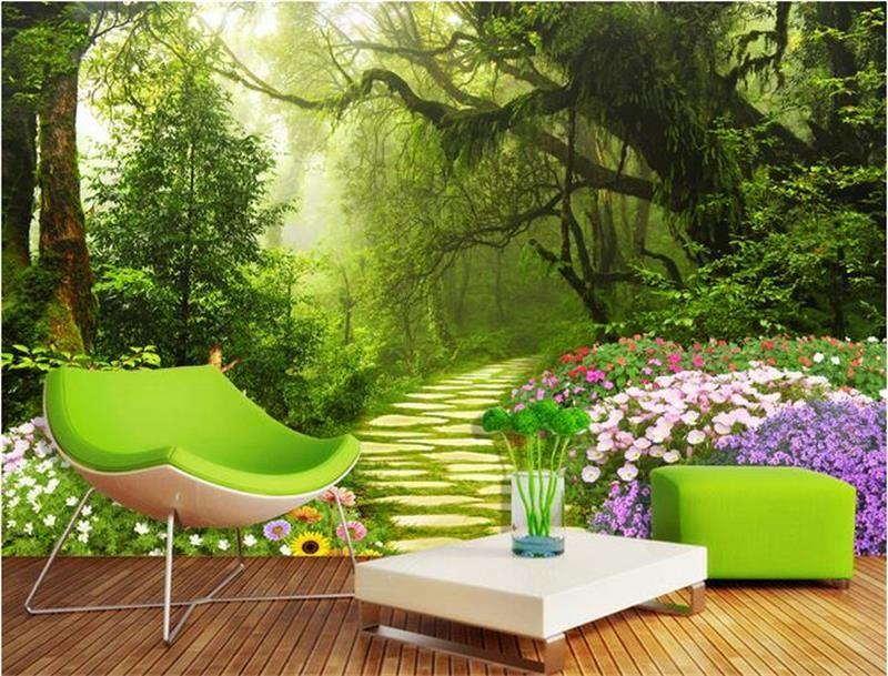 Personalizado 3D Foto Papel De Parede Mural Sala de estar sofá TV Backdrop Mural Primeval Caminho Da Floresta Imagem Papel De Parede Mural Etiqueta Home Decor