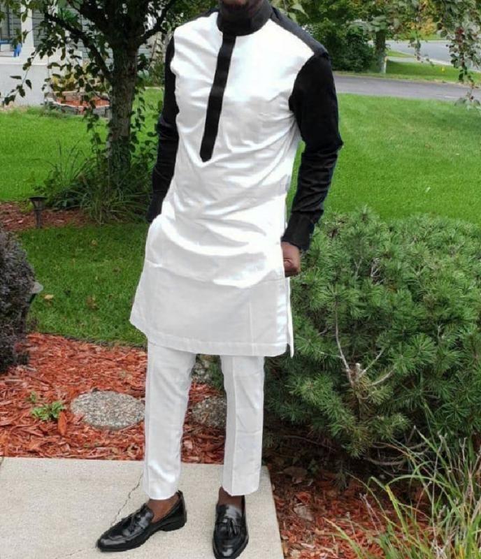 2020 Mode africaine Hommes col Chemises manches avec un pantalon noir patchwork Tops + Pantalon Homme Blanc taille élastique Costume Pantalon