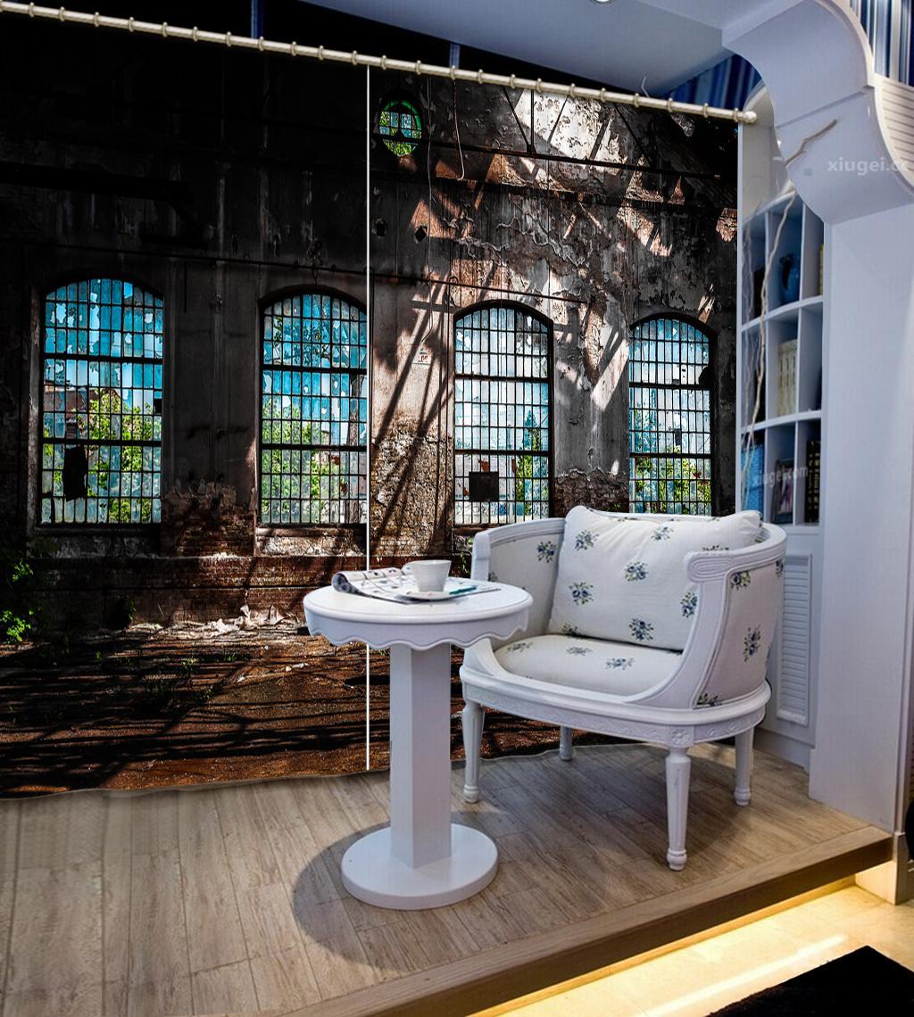 La decoración del hogar cortinas del dormitorio sala de estar Photo encargo 3d cortina Retro cortinas de pared de ladrillo nostálgica 3d cortinas opacas